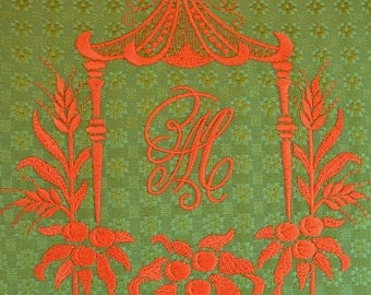 Avocado Green and Mandarin Red - Exclusive Pagoda Monogram Embroidery - HOMAGE to DOROTHY DRAPER