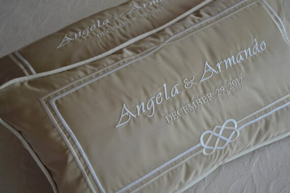 Pair of WEDDING KNEELING PILLOWS - Padrino Madrina de Cojines Custom Made Embroidery on Silk with Bride and Groom's Names and Date