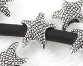 20 silver starfish BEADS fits 4mm leather . 19mm x 12mm x 7mm