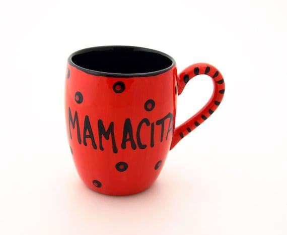 Mamacita spanish mug, red hot momma,  Spanish kitchen, funny gift for her friendship