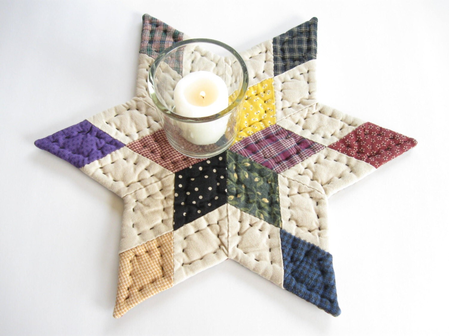 Free Patterns For Quilted Candle Mats : Quilted Table Mat Quilted Table Topper Quilted Candle Mat