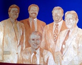 Galveston County Commissioners yester year.  County judge James Holbrook and team in leaves.  Handmade leaf art portrait