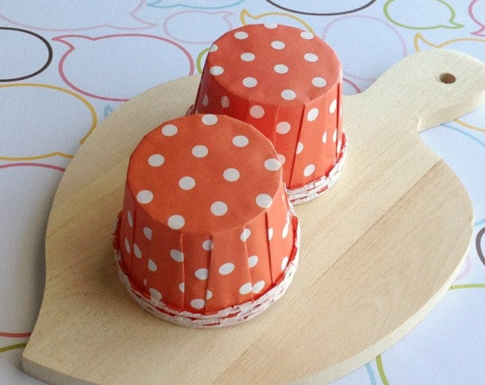 50 Polka Dot Orange Baking Cups