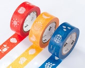 mt Washi Masking Tape - Red, Yellow or Blue Pictures - Kids