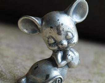 mouse in love,metal sculpture from an estate sale, Home Decor, iron or another compound, Peltro Italy, Mar 04