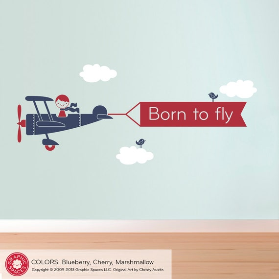 Airplane Wall Decal: Boys Personalized Name Banner Airplane Nursery Room Theme Decor