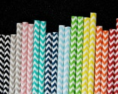 50 Assorted Chevron Zig Zag Paper Straws and PDF Printable Party Flags