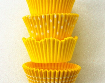 Assorted Bright Yellow Cupcake Liners (40)
