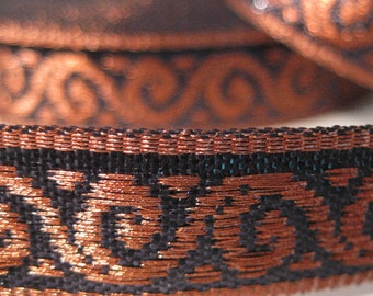 Metallic copper and black jacquard trim BY THE YARD five eighths inch wide