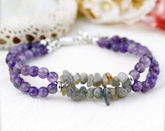 Calm and balance bracelet (unisex) -  amethyst and labradorite