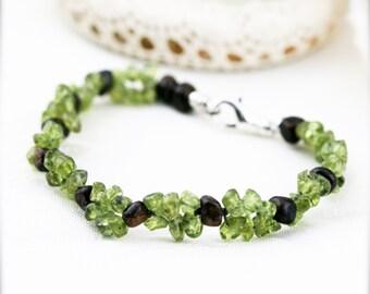 Patience and tolerance bracelet (unisex) -  bronzite and peridot