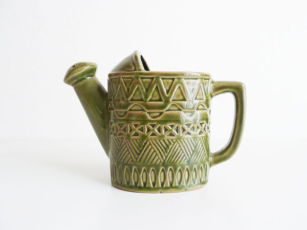 Vintage Ceramic Planter Watering Can Green by kissavintagedesign