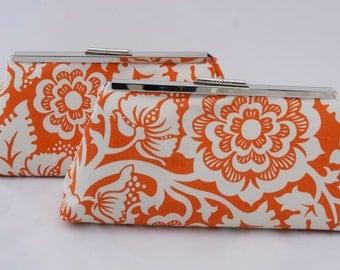 Orange Bridesmaids Gift Clutch  Wedding party handbag Gift Bridal Party Handbag Clutch Design your own for Spring Summer Wedding Gift