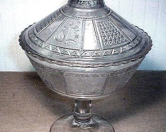 """Vintage Victorian EAPG  Bryce Bros."""" Paneled Forget Me Not"""" Covered Glass Compote"""