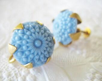 Carved Flower Earrings Baby Blue Goldtone Screw Backs
