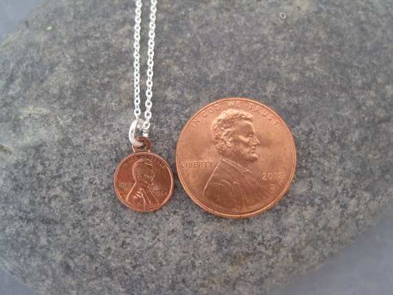 Miniature Penny Necklace Miniature Penny Charm Penny Charm