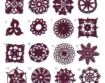 Crochet Lace 16 Individual Motifs Ebook Instant Digital PDF