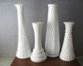 Milk Glass Vase Set of Four
