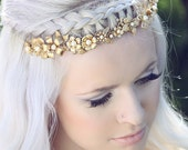 Cinq.........Gold flower headpiece - floral bridal tiara