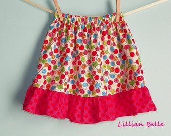 READY TO SHIP Lillian Belle Girls Ruffle Skirt Lollipops and Polka Dots Custom Size 5T