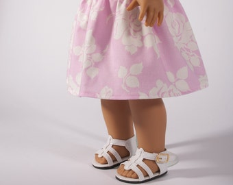 "American Girl doll clothes, modern pink skirt, 18"" inch ag clothing, white rose, floral pastel, PattiKuz, original handmade designs"