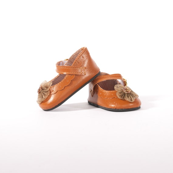 """18 inch American Girl doll shoes, brown, embellished, dress shoes, 18"""" doll clothes, mary janes, Easter"""