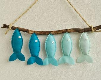 Custom Five Aqua Fish - Nursery Wall Decor - Child's Room Fish Art Ombre