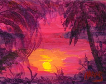 ACEO Tropical Sunsets Palm Trees Hawaii Florida Original Acrylic Painting by Pat Adams