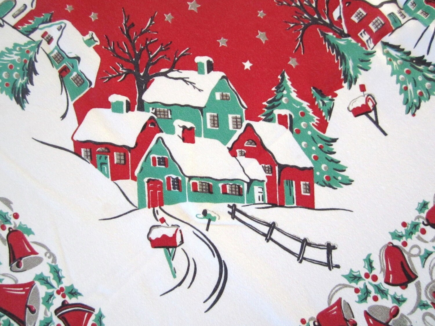 Vintage Christmas Tablecloth Winter Currier Amp Ives