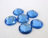Vintage Cabochons Glass Sapphire Blue Faceted Rauten Roses Round 11mm gcb0707 (6)