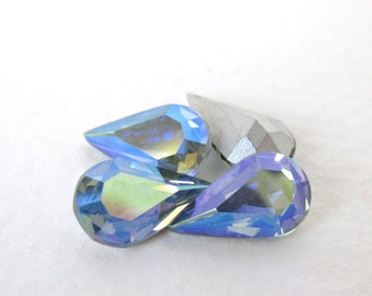 Vintage Swarovski Crystal Rhinestone Light Sapphire AB Pear Teardrop Jewel 13x8mm swa0331 (4)