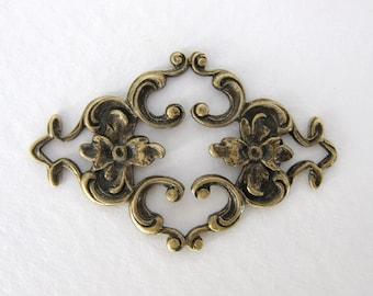 Antiqued Brass Ox Flower Filigree Diamond Heart Connector Finding 35mm flg0066 (2)