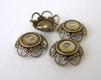 Antiqued Brass Ox Flower Bead Cap Heart Filigree Vintage Style 10mm bcp0023 (6)