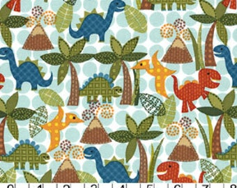 Michael Miller Lil' Dinos in Turquoise, dinosaurs