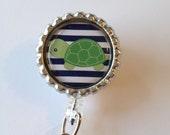 Turtle Retractable Id Badge Reel, Bottle Cap Id Holder, Id Reel Name Badge Holder, Glitter Badge Reel, Nurse Id Reel, Cute Turtle