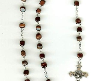 Handmade Rosary Necklace in Red Tigereye with Our Lady Center Piece & St. Benedict Crucifix