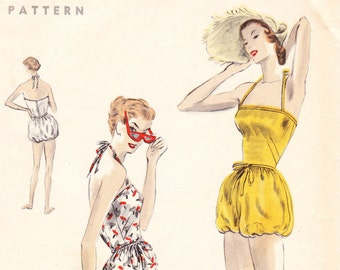 Vintage 1950s swimsuit / playsuit sewing pattern - Vogue 8004 - bust 32