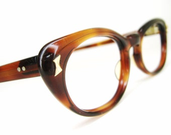 Vintage 50s Tortoise Brown Cateye Eyeglasses Sunglasses Frame France