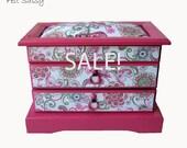 SALE - Refurbished Jewelry Box Medium - Pink Swirl - by FeltSassy