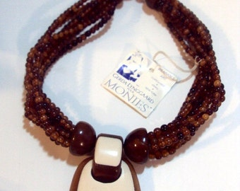 Gerda Lynggaard for Monies From Copenhagen- Horn Wood Necklace -With Tag