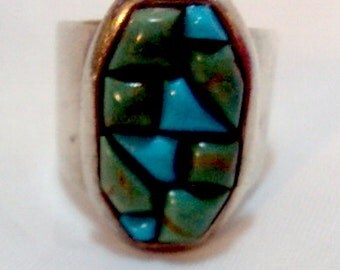 Jay King  DTR mark would  Desert Rose Trading.Sterling Silver Shades of Turquoise Wide Band Ring