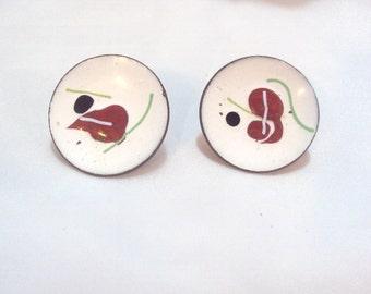 Vintage Copper Disk Enamel Earrings