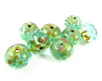 8 - Czech Fire Polished Glass Faceted Rondelle Beads - Transparent Green Aqua with Picasso - 10x6mm - RD106019 .