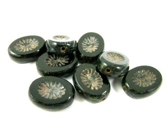 6 - Czech Fire Polished Glass Beads Carved Starburst Oval Picasso - Jet Black - 14x10mm