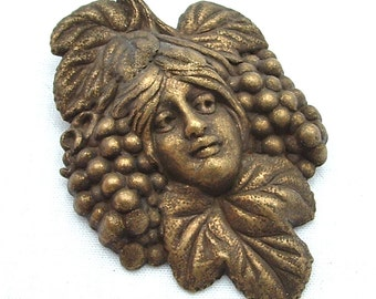 Art Nouveau Brooch Victorian Jewelry Napa Green Lady Romantic Fantasy Antique Jewelry