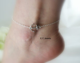 Sideways Anchor Anklet
