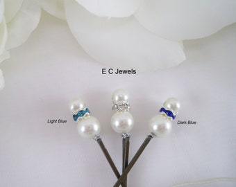 SALE Set of 6 with a Hint of Blue Simplicity Hairpins - Pick your Color