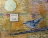Cerulean Blue Warbler Collage Giclee Print 8 x 10