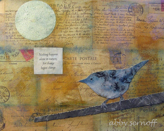 Cerulean Blue Warbler Collage Giclee Print 8 x 10