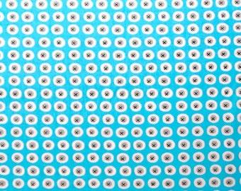 Havana Buttons, Blue, Organic Designer Cotton, Sale, Monaluna, Bright Blue, Aqua, Wholesale, Dots, Fabric - half yard